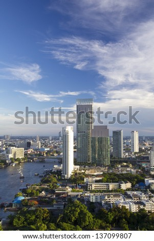 Modern Town in Bangkok beside Chao Phraya River in Thailand - stock photo