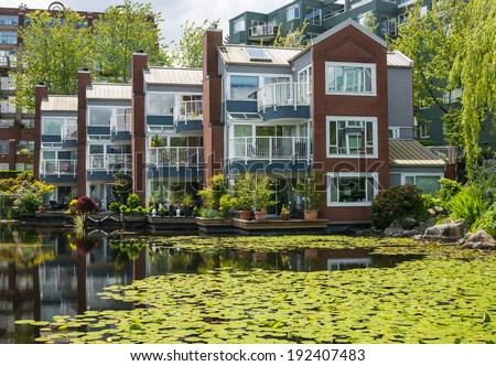 Modern townhouse on a lake in Vancouver, Canada - stock photo