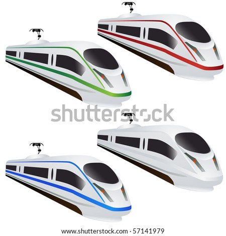 Modern train set isolated on white - stock photo
