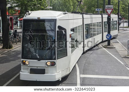 Modern tram in Dusseldorf, Germany - stock photo