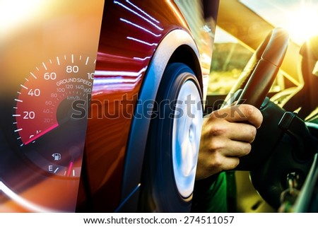 Modern Transportation Concept. Car and Driver. Driving Photo Mosaic. - stock photo