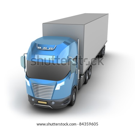 Modern truck with cargo container . My own Design. - stock photo