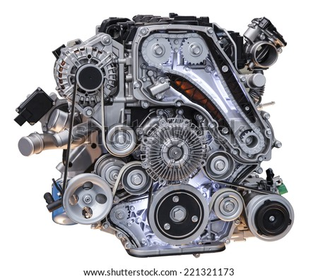 Modern turbo diesel truck engine isolated on white background - stock photo