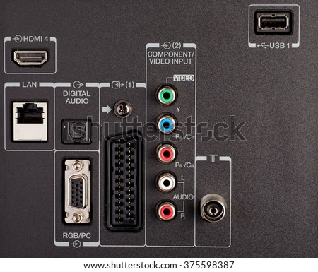 Modern TV audio video input panel with signs,close-up shot, selective focus - stock photo