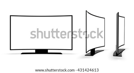 Modern TV on a white background. 3d rendering. - stock photo