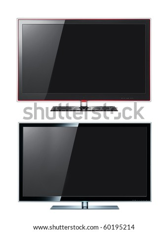 Modern tv panels on white - stock photo