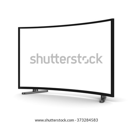 Modern Tv Set with Blank Curved Screen on White Background 3D Illustration - stock photo