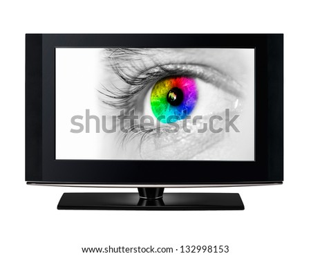 Modern TV showing a color eye. - stock photo