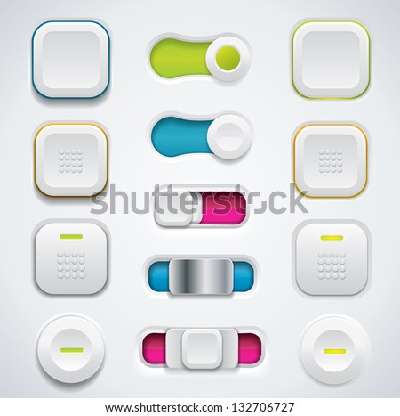 Modern UI button set including switches and push buttons in different design variations - stock photo