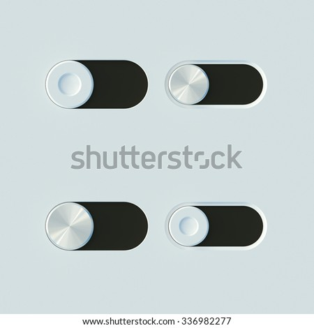 Modern UI metal switches top view - stock photo