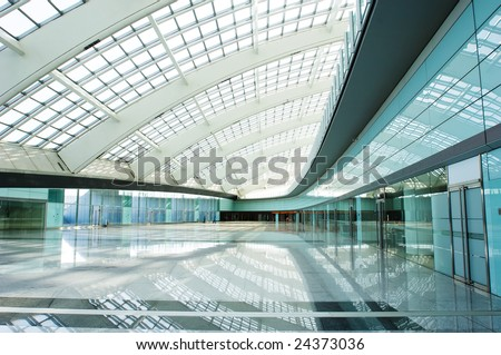 modern vaulted hall in the beijing T3 airfield - stock photo