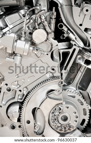 Modern Vehicle Engine Display. Modern Economical V6 Engine - stock photo