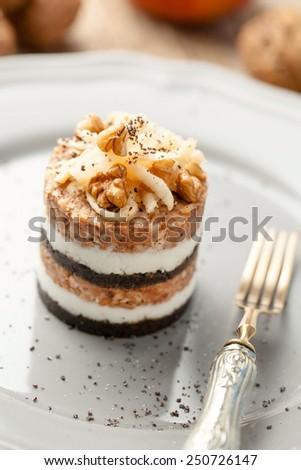 Modern version of traditional slovenian dessert Prekmurska gibanica - stock photo