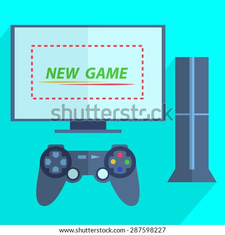 Modern video game consoles like joystick and the screen is ready for the game.  Illustration - stock photo