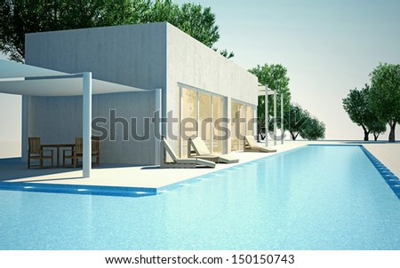 Modern villa with water pool day view - stock photo