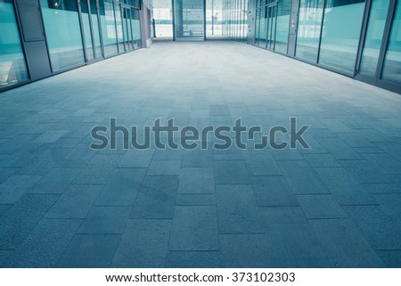Modern walkway and sky in the futuristic city - stock photo
