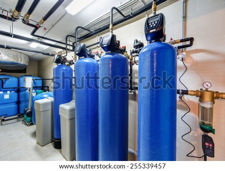 modern water treatment system for industrial boiler - stock photo