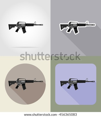 modern weapon firearms flat icons illustration isolated on background - stock photo