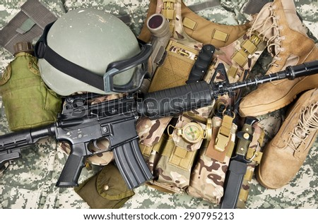 modern weapons and military equipment of special operations forces soldier - stock photo