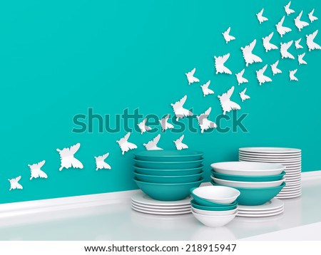Modern white and blue kitchen design. Ceramic kitchenware on the shelf. Butterfly decor on the wall. - stock photo