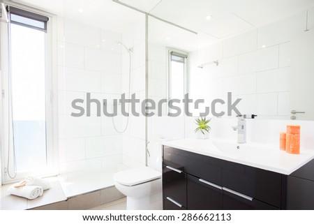 modern white bathroom - stock photo