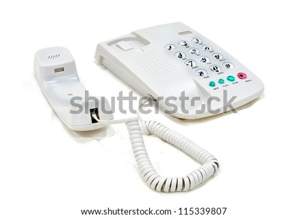 Modern white business office telephone isolated on a white background. - stock photo