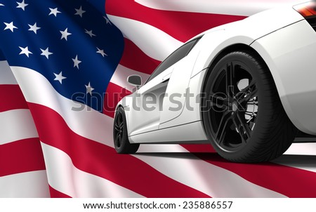 Modern white car isolated on a USA flag - stock photo