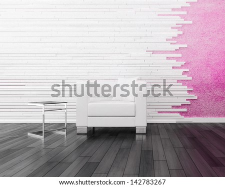 Modern white chair against pink wall - stock photo