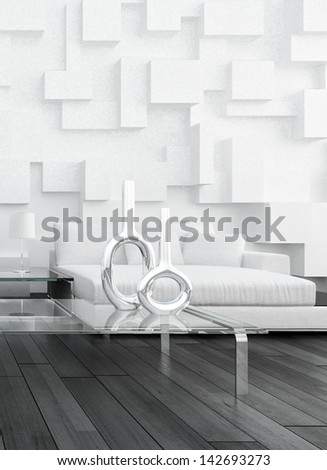 Modern white couch against design wall - stock photo