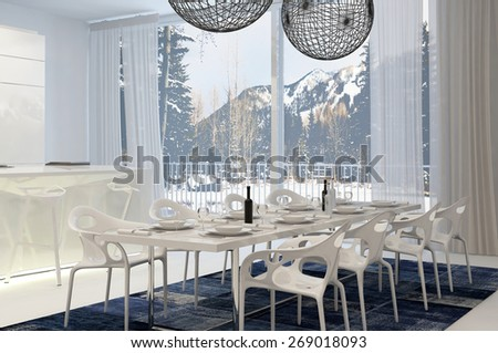 Modern White Dining Table in Eat In Kitchen with View of Snow Covered Mountains Through Windows. 3d Rendering. - stock photo