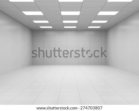 Modern White Empty Business Room 3D Interior. 3D Rendering - stock photo