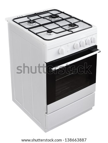Modern white gas cooker isolated on white with clipping path - stock photo