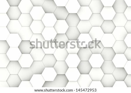 Modern white hexagon shaped structure background texture - stock photo