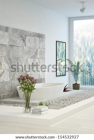 Modern white In-Floor Bathroom with stone wall - stock photo