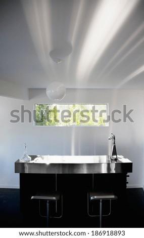Modern white kitchen clean interior - stock photo