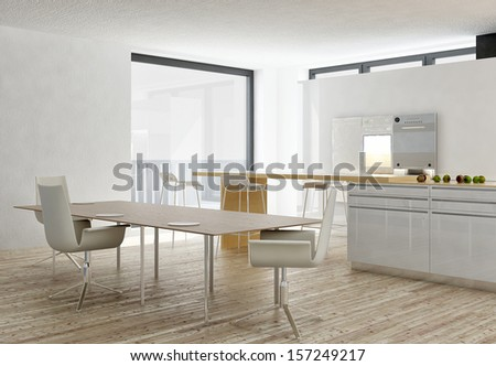 Modern white kitchen interior with wooden floor - stock photo