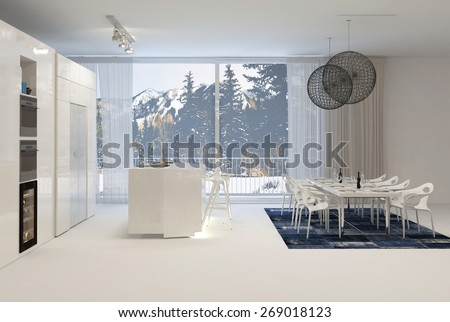 Modern White Kitchen with Eat In Dining Table and Large Windows with View of Snowy Mountains. 3d Rendering. - stock photo
