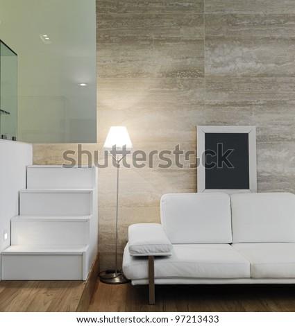 modern white kitchen with wood floor - stock photo