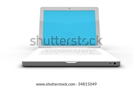 Modern White laptop - stock photo