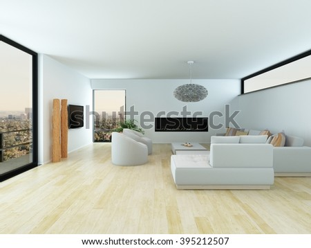 Modern white living room interior with a light parquet floor, white lounge suite and large view window overlooking a city, 3d render - stock photo