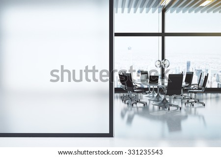 Modern white meeting room with copyspace 3D Render - stock photo