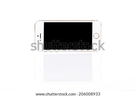 Modern white mobile smart phone with blank screen isolated on white background - stock photo
