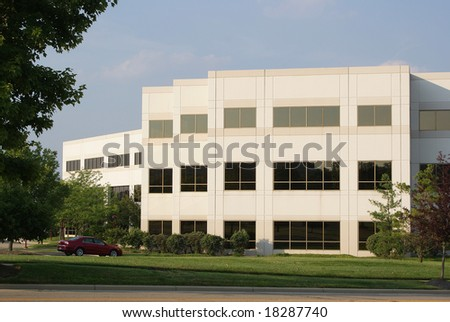 Modern White Office Building - stock photo