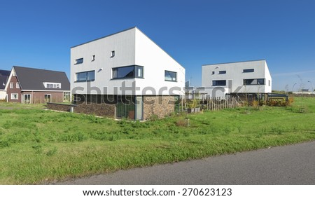 modern white residential houses in zwolle, netherlands - stock photo
