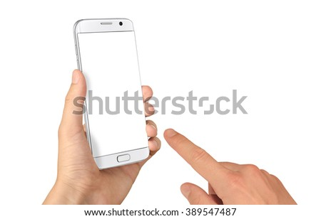 Modern white smart phone in man hand. White screen for mockup, isolated. - stock photo