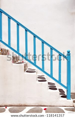 Modern white stair up to the house - stock photo
