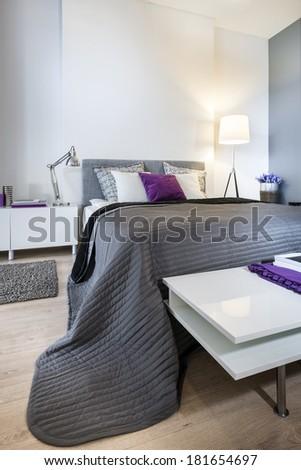 Modern, white stylish bedroom interior design - stock photo