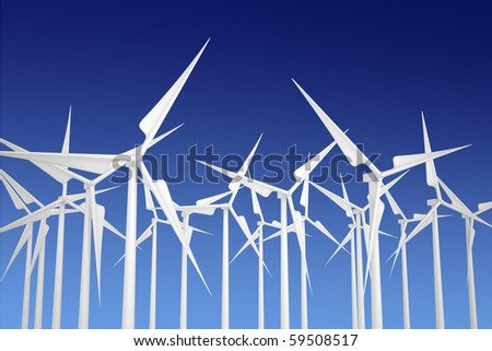 Modern white wind turbines or wind mills producing energy to power a city - stock photo