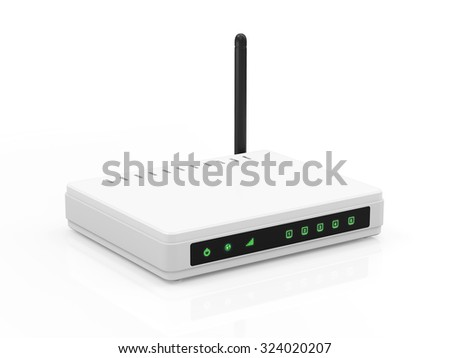Modern White Wireless Router isolated on white background. Technology Concept. - stock photo