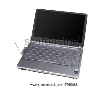 modern wide screen laptop - clear screen - stock photo